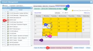 Manage School Calendar